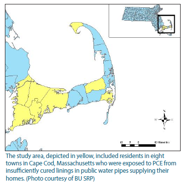 Image of the study area depicting the eight towns in Cape Cod, Massachusetts who were exposed to PCE from insufficiently cured linings in public water supplies.