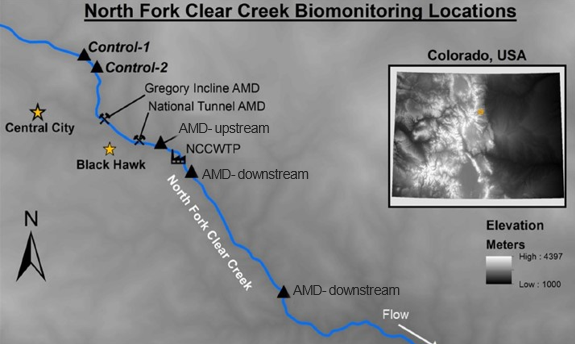 Biomonitoring locations were placed upstream of the treatment plant to function as control sites.